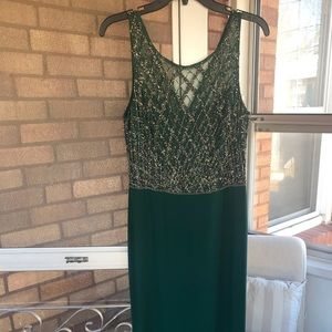 Emerald green gown, with beaded embellishments